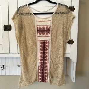 Free People Tan Embroidered Lace Boho Top